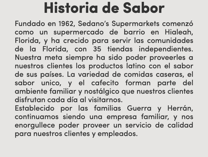 About us sedano spanish